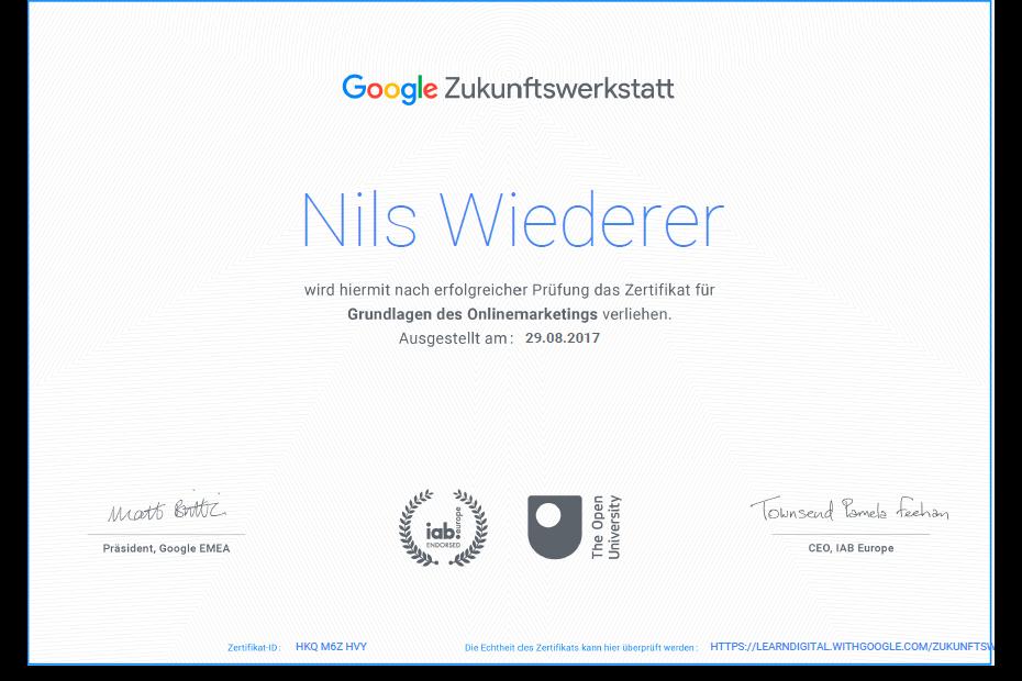 Google Zukunftwerkstatt Zertifikat